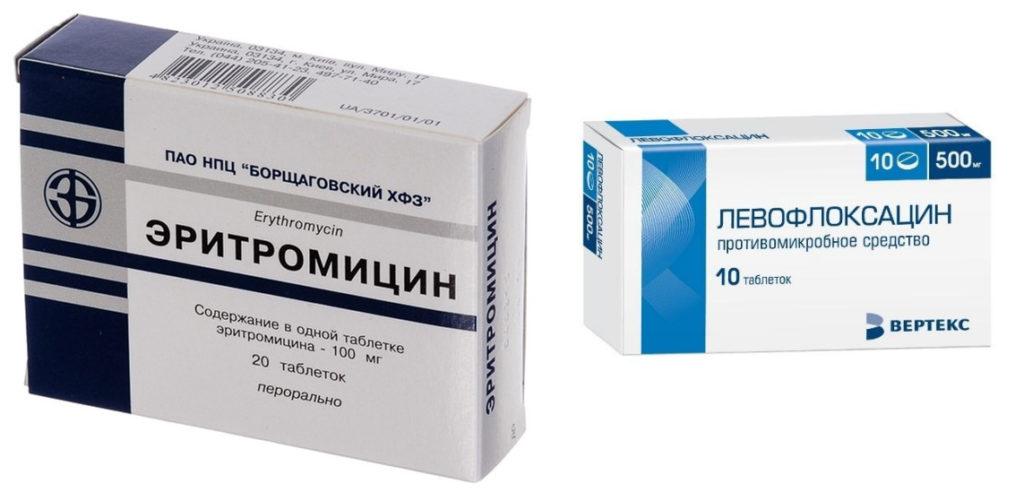 Эритромицин и левофлоксацин